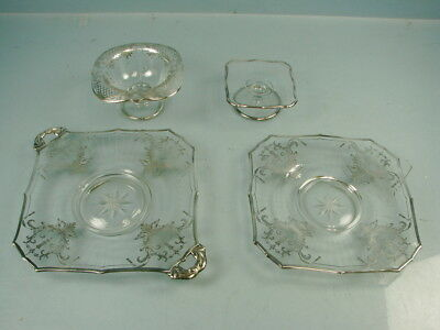 Lot of 4 Silver Overlay Glass Serving Candy Fruit Bowl Compote Dishes
