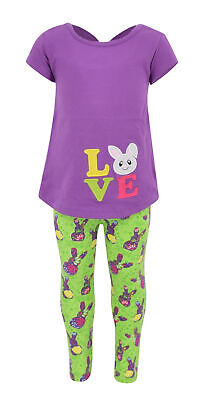 Girls Easter Bunny Love 2 Piece Outfit Infant Toddler Kids Clothes