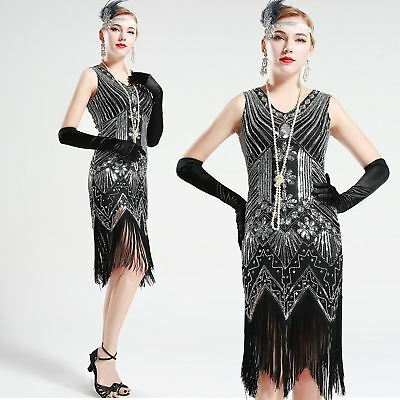 130b9443454 Vintage 1920s 20s Black and Silver glass beaded Fringe Flapper Gatsby Dress