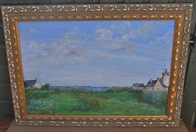 Large Fancy Gilt Framed Painting On Canvas Of Houses On Coast By M T Laforge