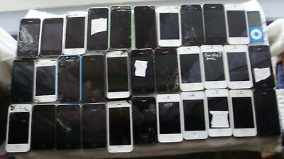 Lot Of 29 Iphones 3.4 And 5 Units And 6 Ipods Various Conditions Sold For Parts