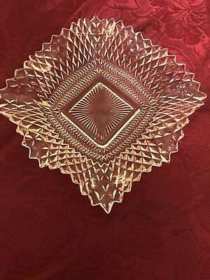 Vintage Clear Indiana Square Glass Dish Diamond Point With Crimped Edge