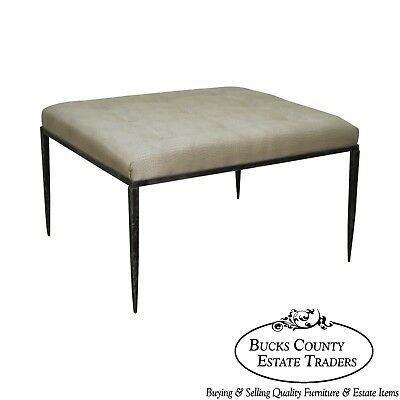 Phenomenal Wrought Iron Frame Ottoman By Milo Baughman Thayer Coggin Theyellowbook Wood Chair Design Ideas Theyellowbookinfo