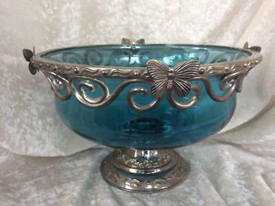 Blue Glass Compote, Metal (Silverplate?) Trim and Pedestal, Butterfles