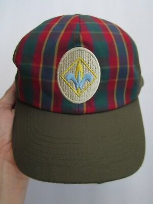 Boy Scout Webelos Plaid Adjustable Hat Cap, Medium/large, Olive Green Very Good+