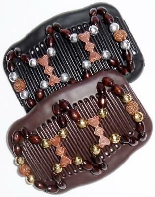 """Set of 2 Double Hair Combs, Angel Wings Clips 4x3.5"""", Hearts, Rosebuds, Facets"""