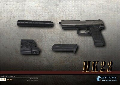 "ZYTOYS ZY2009D MK23 SOCOM Pistol Weapon Gun Model 1/6 Miniature Toy F 12"" Figure"