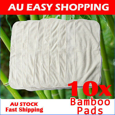 10 x BAMBOO WHITE COTTON LINER INSERT BOOSTER PAD CLOTH REUSABLE Nappy/Diaper C