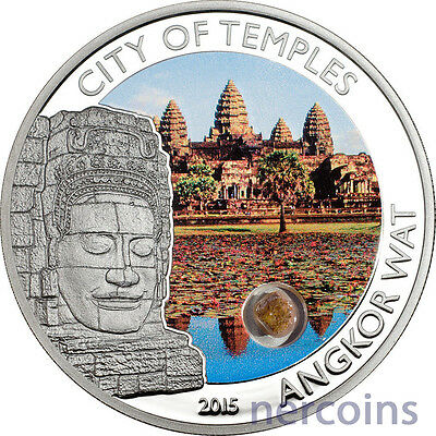 Cook Island 2015 City of Temples Angkor Wat $5 Silver Proof Coin with Sandstone