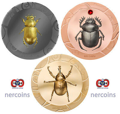 Scarab Selection 2017 Cook Islands Perfect Set of 3 x $5 Silver 1Oz Proof Coins