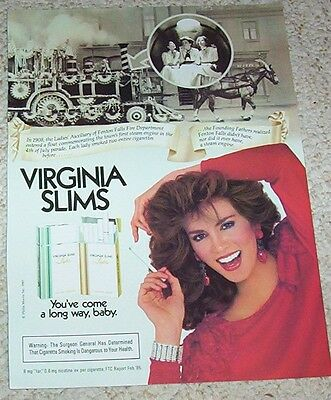 1985 ad page -Virginia Slims Cigarette steam engine SEXY GIRL smoking print AD