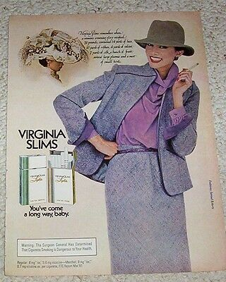 1982 ad page -Virginia Slims Cigarette big hat SEXY GIRL smoking print ADVERT