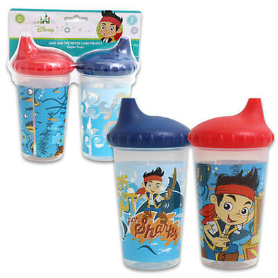 2pk Spill Proof DISNEY JAKE & THE PIRATES Sippy Cups Toddler Kids Boys BPA FREE