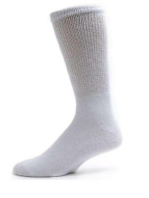 davido Mens diabetic socks crew 100%cotton made in Italy 6 pairs siz 13-15 white