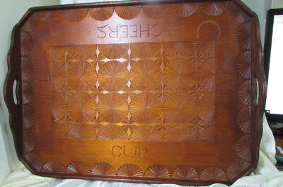 Antique Chip Art Or Tramp Art Wooden Tray