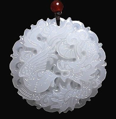 Chinese natural hand-carved white jade Dragon phoenix lucky pendant necklace