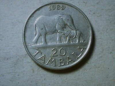 Malawi 20 cents 1989 Elephant with calf