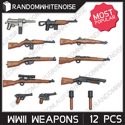 12x WWII Weapons for Minifigs Blocks Toy Guns Army Military WW2 SWAT Police WW1