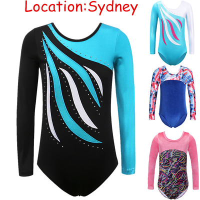 3-14Y Gymnastics Leotard Girls Ballet Costume Dancewear Longsleeve Kid Jumpsuit