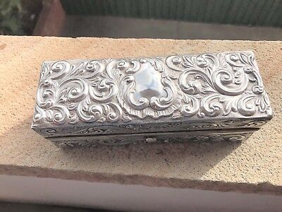 Victorian Floral Design Sterling Silver Box - Charles James Fox - Chester - 1897