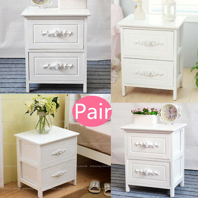 Pairs of White Rose Wooden Bedside Tables Cabinets Nightstand Side Table Drawers