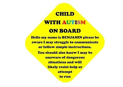 Autism Child On Board Personalised Car Sign