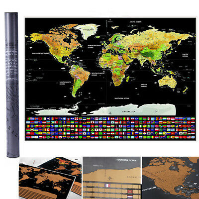 Deluxe Large Scratch Off World Map Personalized Travel Poster Atlas Decor AU NSW