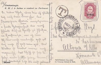 1909: Constantinople - post card to Germany-Taxe