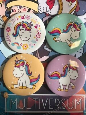 Comic Einhorn Taschenspiegel 4er Pack  Unicorn Mirror  4 pack