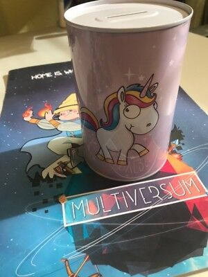 Comic Einhorn Metall-Spardose Motiv 2  Unicorn Saving Bank