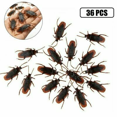 36x Realistic Rubber Fake Cockroaches Creepy Cock Roach Bugs Prank Gag Gift Toy