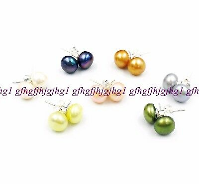 Wholesale 7pairs/lots 7-8mm Natural freshwater Pearl Mutil Color Stud Earrings