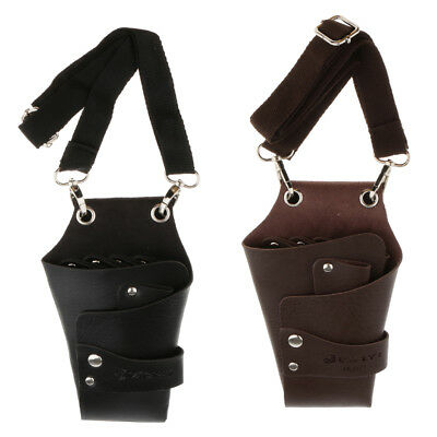 Hairdressing Scissors Barbers Tool Holster Pouch Holder Waist Bag PU Leather
