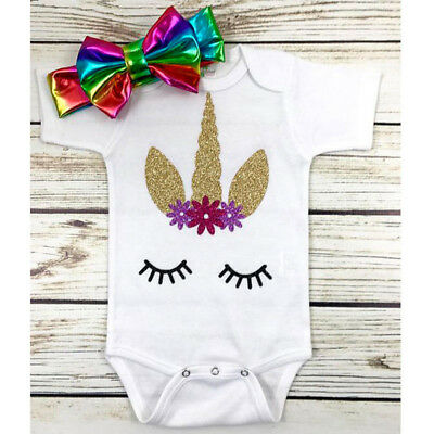 US STOCK Newborn Infant Baby Girl Unicorn Romper Floral Bodysuit Clothes Outfits