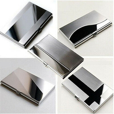 Fine Stainless Steel Pocket Name Credit ID Business Card Holder Box Metal*Case