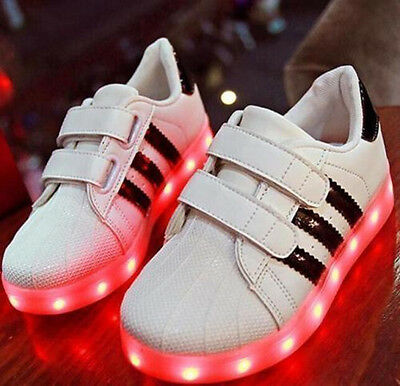 AU Kids Children Charge Led Boys Girls Light Up Sneakers Flat Shoes Trainer 2018