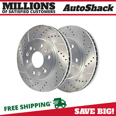 Front Pair (2) Silver Drilled Slotted Rotors 6 Stud For 2005-2019 Silverado 1500