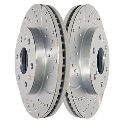 Front Pair Silver Drilled Slotted Brake Rotor Fits Chevy GMC w/Lifetime Warranty