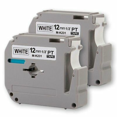 """2PK Onirii Compatible Brother P-touch M231 MK231 M-k231 Label Tape 0.47""""12mm W"""