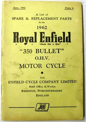 ROYAL ENFIELD 350 Bullet OHV 1962 Original Owners Motorcycle Parts List