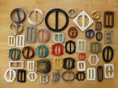 Job Lot Collection of Vintage Buckles Bakelite Plastic MOP Metal Art Deco