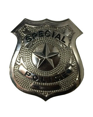 Mens Silver Metal Police Badge Kids Adults costume Fancy Dress Party Accessories