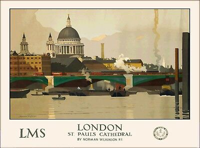 London England St. Pauls Cathedral Vintage Travel Advertisement Art Poster Print