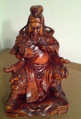 Old Chinese Boxwood wood hand carved Guan Gong Yu Warrior Statue