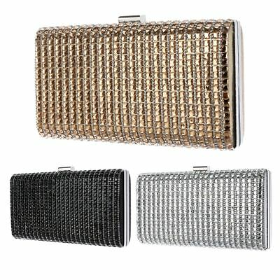 Women Party Wedding Prom Ladies Evening Crystal Diamante Clutch Box Purse Bag UK