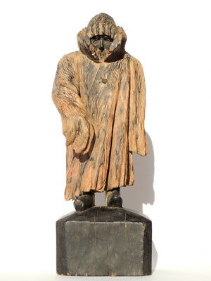 Rare Vintage Antique Wooden Wood Hand Carved Figurine / Statue SIBERIAN Old Man