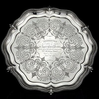 Antique Ornate Victorian Solid Sterling Silver Salver/Tray - London 1871, 560g.
