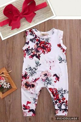 Girls Kid Toddler Baby Boutique Vintage Romper Headband Summer Outfit Holiday