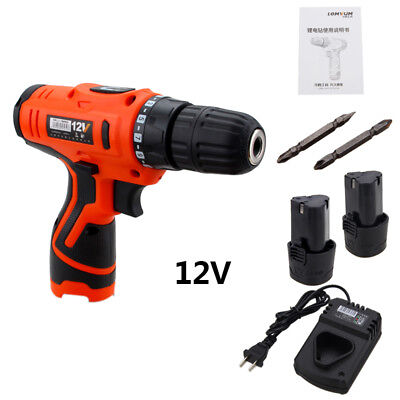 12V Electric Cordless Screwdriver Drill Driver Quick Charger Li-Ion Rechargable