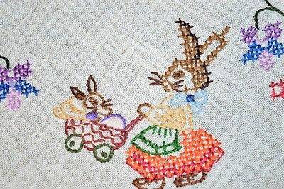 Easter Bunny Family & Baby Carriage Vintage German Hand Emb Tablecloth Lace Edge